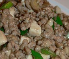 Mapo Tofu With Ground Pork, Garlic, Scallions: http://www.tastygalaxy.com/cook/mapo-tofu/