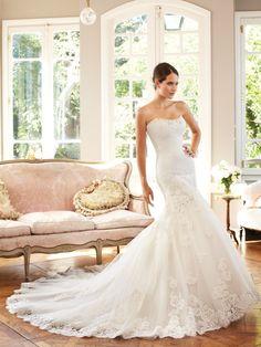 Delicate Floor Length Fit N Flare Scoop Tulle Dropped Waist Wedding Dresses - 1300103657B - US$249.99 - BellasDress