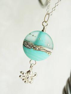 Etched Aqua Burst Necklace -SOLD-