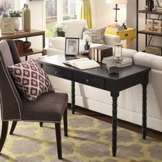 Working with a colorful character isn't always a good thing, unless of course you've got the Weston Home Writing Desk with Helix Legs . Desk Behind Couch, Bedroom Floor Tiles, Desk In Living Room, Dining Room, Dining Area, Home Office Space, Office Desk, Lounge, Writing Desk