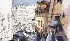 Halfway done! Escadinhas do Duque #lisboa #sketch #sketchbook #usk #urbansketchers