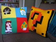 Tunisian Crochet Mario Cushion