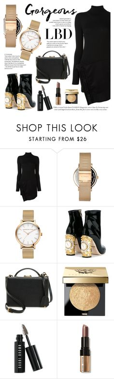 """Gorgeous Little Black Dress"" by christianpaul ❤ liked on Polyvore featuring Dsquared2, Dolce&Gabbana, Mark Cross, Bobbi Brown Cosmetics, blackandgold, LBD, blackdress and christianpaulwatches"