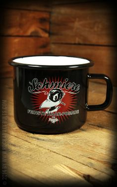 Kaffeebecher / Tasse aus Email by Rumble59 mit dem Schmiere Raben - Kaffee oder Tee? - Rockabilly-Rules.com