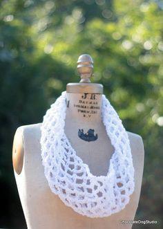 Infinity scarf white by ChocolateDogStudio on Etsy