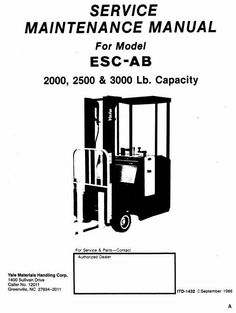 Original Illustrated Factory Workshop Service Manual for Yale Electric Forklift Truck Type ESC-AB.Original factory manuals for Yale Forklift Trucks, contains high quality images, circuit diagrams and instructions to help you to operate and repair your truck. All Manuals Printable and contains Search