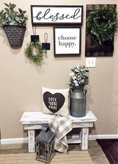 blesssed sign, choose happy, farmhouse, storage, rustic, modern, home decor, entry way, blanket, diy decor, entry way, pillows, bench, flowers, rustic pot, silver, gold, grays, rug, stairs, style, rug, lantern, home decor, #afflink by esmeralda