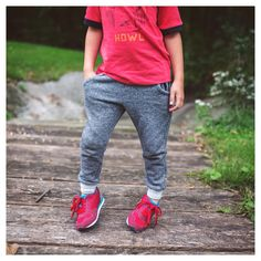 Fawn Kids Clothing kids joggers, paired with tennis shoes & graphic tee