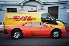 camionette DHL version rapide, très rapide, l'illusion est parfaite !