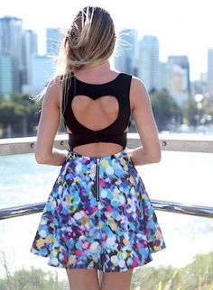 Blue+Printed+Skater+Skirt+with+Heart+Cutout+Top,++Dress,+blue+printed+dot+heart+cutotu,+Chic