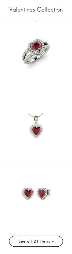 """""""Valentines Collection"""" by diamondere ❤ liked on Polyvore featuring jewelry, rings, ruby diamond ring, ruby band ring, white gold rings, white gold ruby ring, band rings, necklaces, 14 karat gold jewelry and white gold necklace"""