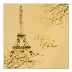 PixDezines Eiffel Tower + swirls Invites | Zazzle.co.uk  This is gorgeous