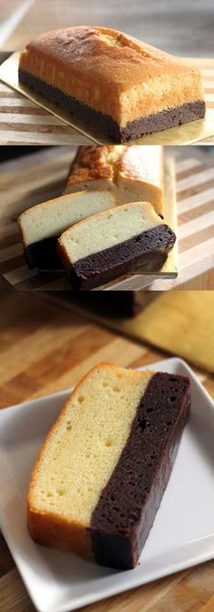 Brownie butter cake: thick brownie and rich butter cake combined into one decadent and to-die-for cake! Click for recipe.