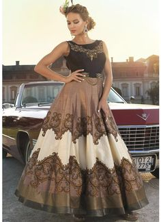 Classy Dark Blue And Copper Designer Digital Print Gown