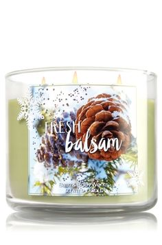 "Fresh Balsam - 3-Wick Candle - Bath & Body Works - The Perfect 3-Wick Candle! Made using the highest concentration of fragrance oils, an exclusive blend of vegetable wax and wicks that won't burn out, our candles melt consistently & evenly, radiating enough fragrance to fill an entire room. Topped with a silver, snowflake-embossed lid! Burns approximately 25 - 45 hours and measures 4"" wide x 3 1/2"" tall."