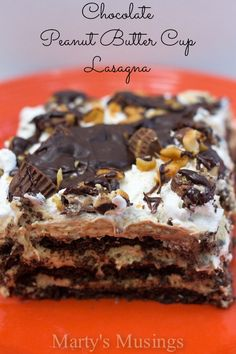 Chocolate Peanut Butter Cup Lasagna Chocolate lasagna is like a smorgasbord of chocolate, gooey, creamy delight, and this recipe, originally from Melissa's Southern Style Kitchen, is about as good as it gets. - See more at: http://recipetipster.com/chocolate-peanut-butter-cup-lasagna/#sthash.pgKts4Te.dpuf