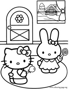 In this beautiful coloring page Hello Kitty is playing with Cathy, one of hers most trusted friends! Enjoy coloring it!