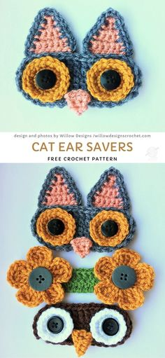 Sweet Heartwarming Crochet Gifts For Frontline Heroes. Who said that ear savers have to be plain and boring? You can mix things up a little and make these cute cat ones, that are not only practical and very comfortable, but also cute! Crochet Mask, Crochet Faces, Crochet Bear, Crochet Gifts, Quick Crochet, Cute Crochet, Vintage Crochet, Yarn Projects, Crochet Projects