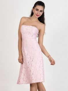 Shop Pink Strapless Lace Crochet Midi Skater Dress from choies.com .Free shipping Worldwide.$31.41
