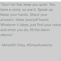 Fill the silence Greys Anatomy Quote