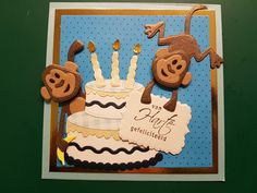 Marianne design apen en taart Boy Cards, Kids Cards, Birthday Cards For Boys, Boy Birthday, Paper Art, Paper Crafts, Marianne Design Cards, Animal Cards, Zoo Animals