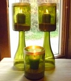 recycled wine bottles // My Sam can totally make these!