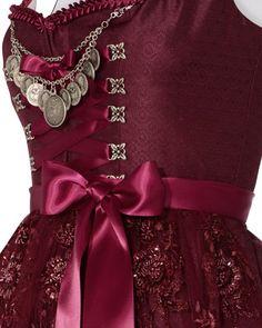 Silk & Pearls Silk Dirndl short with lace apron   LODENFREY
