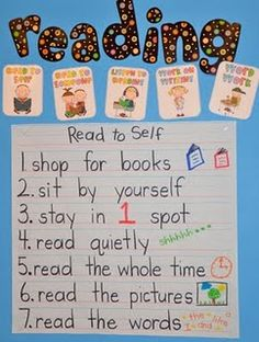 Read to self.  Words & pictures to remind kiddos what to do during silent reading time.