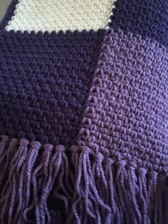 Crochet Afghans Patterns - You will love the woven texture of this lavender throw! This throw is worked in one piece, working with six balls of yarn at one time. I love lavender. It's one of my favourite flowers. It can be found in a variety of colours. Crochet Afghans, Crochet Edging Patterns, Crochet Throws, Square Patterns, Crochet Throw Pattern, Crochet Edgings, Crochet Mandala, Baby Afghans, Crochet Crafts