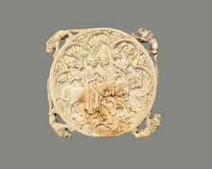 Mirror Case, ivory, 1350-75, French. Mirror cases, which might be considered forerunners of the modern compact, were primarily destined for the aristocracy, and their subject matter reflects the activities and interests of their owners. Here, a lady and gentleman hunt with falcons, accompanied by attendants. Medieval literature frequently drew a parallel between falconry and courtly love, and the playful imagery of this ivory may be read as a metaphorical hunt for love.