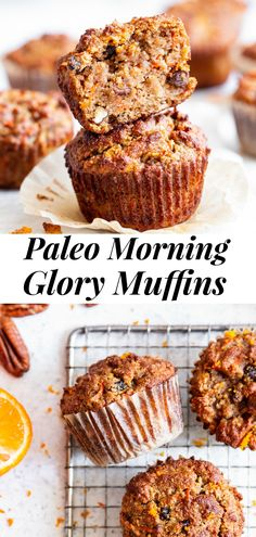 These Paleo Morning Glory Muffins are perfect for breakfast and snacking! Loaded with goodies like apples, carrots, raisins and pecans and flavored with orange zest, these tender and moist muffins absolutely delicious, healthy, gluten free, grain free, dairy free, and refined sugar free. #paleo #glutenfree #paleobaking #cleaneating Sugar Free Muffins, Gluten Free Muffins, Healthy Muffins, Paleo Pumpkin Muffins, Paleo Muffin Recipes, Dairy Free Recipes, Cheap Recipes, Flour Recipes, Baking Recipes