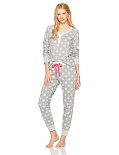 9b45d963b69d Mae Women s Sleepwear Vintage Thermal Loose Fit Henley Pajama Set  lingerie  afflink Women s Sleepwear