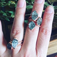 These gorgeous raw herkimer diamond rings can be worn alone or staked! Simple, raw, and beautiful! Each ring is unique and varies slightly. Each piece of jewelry has been carefully handcrafted by me in my home studio. I use high quality raw and natural stones and incorporate them in a way that they display their natural stone to its full potential and beauty. I made it using a process called electroforming, where I set the stone with an epoxy clay, and then use a current in a solution to…