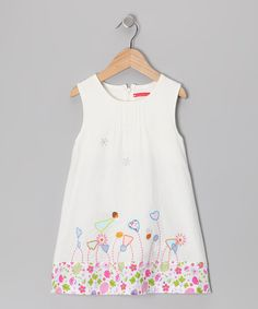 Take a look at this White Button Flower Dress - Infant, Toddler & Girls by Maggie Peggy on #zulily today!