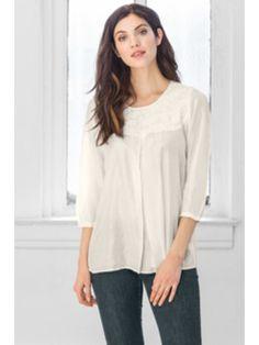 "Silk crepe 29"" long 3/4 sleeves Hand embroidered yoke"