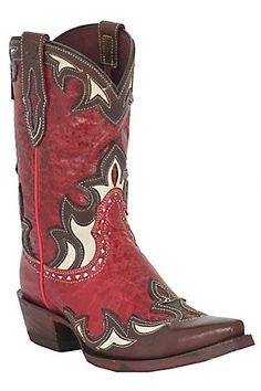 Ariat Reina Ladies Red Appy Distressed w/ Brown Wingtip Snip Toe Western Boots