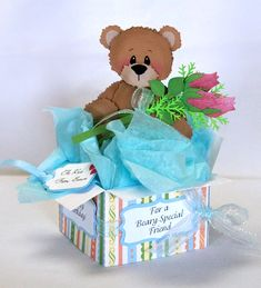 A Star For Chiemi: Teddy Bear In A Pop Up Box Card