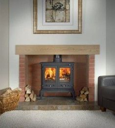 The Firefox 12 Multi Fuel Stove - Gallery Fireplace Collection Brick Fireplace Log Burner, Cottage Fireplace, Inglenook Fireplace, Open Fireplace, Fireplace Surrounds, Fireplace Design, Fireplace Ideas, Electric Stove Fireplace, Log Burner Living Room