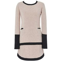 Pink Turtleneck Curved Hem Knitted Mini Dress (€46) ❤ liked on Polyvore featuring dresses, polo neck dress, short turtleneck dress, short dresses, pink day dress and curved hem dress