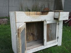 Chippy White barnwood ,dry sink. Solid maple with Barn roof tin doors & drawer.