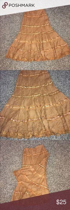 Hippie style long Skirt This is a gorgeous Hippie/ Boho style skirt, size 10. Perfect for summer time! I love this style and this skirt is just amazing 😍❤️😊 ISHYU Skirts Maxi