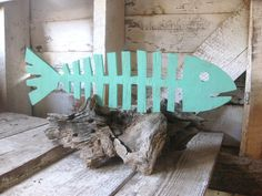 Fishbones beach decor whimsical wood sign cottage by seasawsign, $60.00