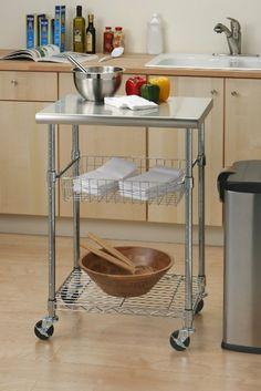 Amazon.com - Seville Classics Stainless Steel Professional Kitchen Cart Cutting Table - Closet Shelves