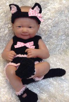 Handmade 14 Inch Doll Clothes fit Berenguer,La Newborn,Reborn.Black cat Set