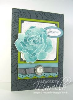 handmade greeting card from Marelle Taylor Stampin' Up! Demonstrator Sydney Australia ... luv the background layer ... gray with clear heat embossed roses ... contrasting textures ... watercolor technique for focal point rose in aquas ... gorgeous!! great card!!! ... Stampin' Up!