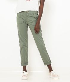 0a88115d1c7475 W2019 Spodnie chinosy vert amande damskie - Camaïeu