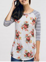 SHARE & Get it FREE   Knit Floral Print 3/4 Sleeve T-ShirtFor Fashion Lovers only:80,000+ Items • New Arrivals Daily • Affordable Casual to Chic for Every Occasion Join Sammydress: Get YOUR $50 NOW!