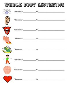 "3rd/4th grade worksheet to go along with the ""Whole Body Listening"" poster."