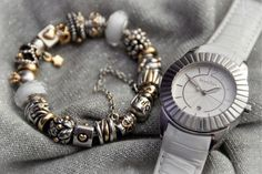 PANDORA Silver and Gold Bracelet with White Murano and Pandora Imagine Watch Featuring White Leather Strap.