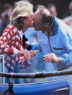 June 12, 1983: Princess Diana with Major Ronald Ferguson,(Sarah Ferguson's father), at a polo match at Windsor.